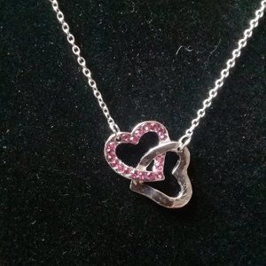 Silver and pink heart necklace